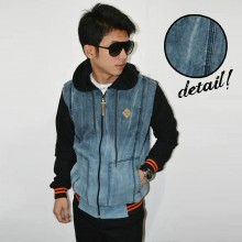 Jacket Denim Hoodie Dry Washy Blue