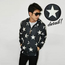 Jacket Parachute Star Pattern Black