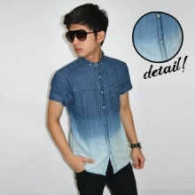 Kemeja Short Denim Dark Light Gradation Blue