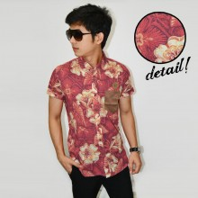 Kemeja Short Hawaii Flower Red