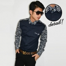 Kemeja Sleeve Batik Casual Dark Navy