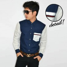 Kemeja Sleeve Pocket Combination Navy White