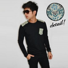 Long Sleeve Shoulder Patch Tribal Black [BRANDED]