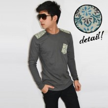 Long Sleeve Shoulder Patch Tribal Grey [BRANDED]