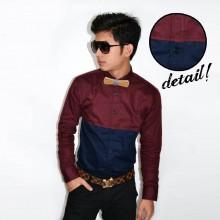New Look Block Colour Shirt Maroon Navy