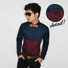 New Look Block Colour Shirt Navy Maroon