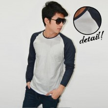 Raglan Tee Long Sleeve White Dark Navy