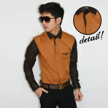Sleeve Combination Shirt Caramel