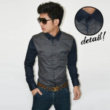Sleeve Combination Shirt Dark Grey