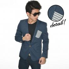 Blazer Fashion Pocket Stripe Blue Dusk