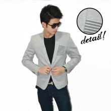 Blazer Fashion Pocket Stripe Soft Grey