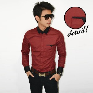 Kemeja Neck Combination Maroon