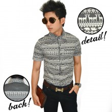Kemeja Short Tribal Animal Grey