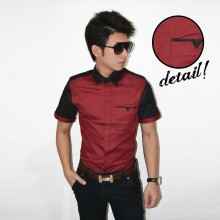 Kemeja Short Two Combination Maroon