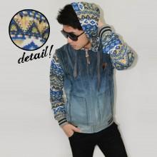 Jacket Denim Hoodie Combine Blue Tribal