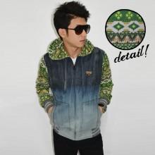 Jacket Denim Hoodie Combine Green Tribal