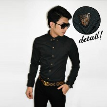 Kemeja Button Leopard Black