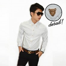 Kemeja Button Leopard White