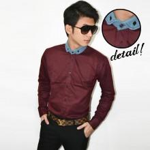 Kemeja Contrast Denim Collar Maroon