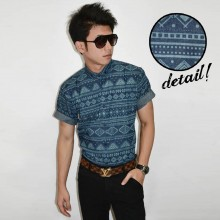 Kemeja Short Denim Tribal Pattern