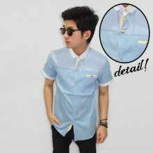 Kemeja Short Chest Block Soft Blue