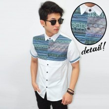 Kemeja Short Line Tribal White