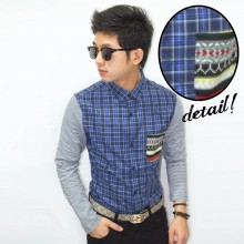 Kemeja Square Pocket Tribal Colorful Blue