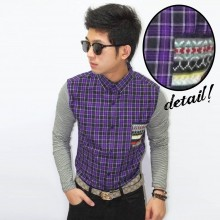 Kemeja Square Pocket Tribal Colorful Purple