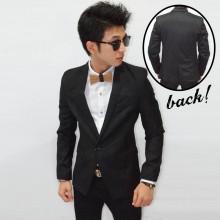 Blazer Pocket Polkadot Accent Black