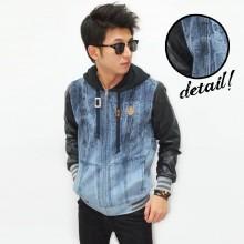 Jacket Denim Mixed Fabric Sleeve Leather