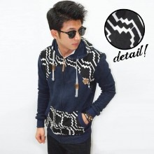 Jacket Monochrome Hexagon Navy