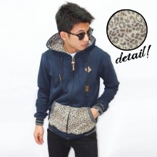 Jacket Simple Leopard Skin Navy