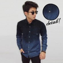 Kemeja Denim Long Dark Dye Gradient