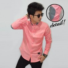 Kemeja Shanghai Pink Elbow Patch