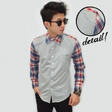 Kemeja Sleeve Check Tartan Soft Grey