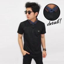 Polo Neck Mix Fabric Black
