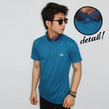 Polo Neck Mix Fabric Blue Marine