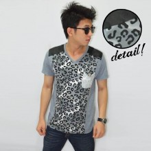 Grey Leopard Shoulder Leather