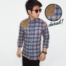 Kemeja Flanel Square Suede Patch Dark Blue
