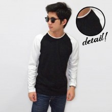 Raglan Tee Long Sleeve Black White