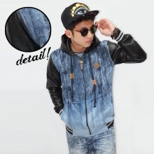 Jacket Denim Hooded And Sleeve Leather