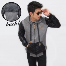 Jacket Combination Leather Quilted