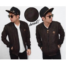 Jacket Varsity Leather Suede Dark Brown