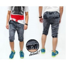 Joggers Capri Pants Acid Wash Black Faded Kakkoii