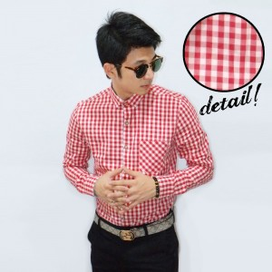 Kemeja Classic Gingham Check Red And White