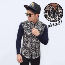 Kemeja Combination Leopard Skin Pattern White