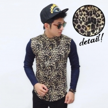 Kemeja Combination Leopard Skin Pattern Yellow
