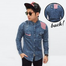 Kemeja Denim Wash American Flag Patch