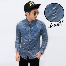 Kemeja Denim Wash With Small Ripped Dark Blue