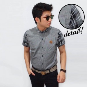 Kemeja Short Oxford Sleeve Tartan Grey